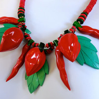 Red Chili Pepper Necklace Wooden