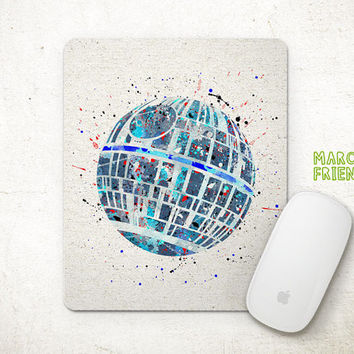 Death Star Mouse Pad, Star Wars Watercolor Art, Mousepad, Office Deco, Holiday Gift, Art Print, Desk Decor, Star Wars Accessories