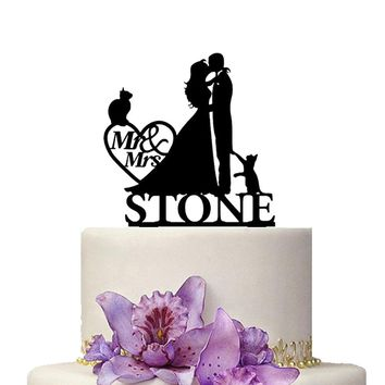 Custom Wedding Cake Topper Mr Mrs Name Cute Pet Kitty Cat