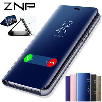 ZNP Luxury Clear View Mirror Flip Stand Case For Samsung Galaxy