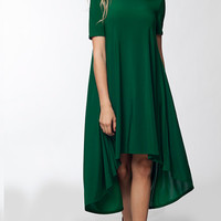 Macy Hi-Low Swing Dress - Green