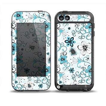 The Blue and White Floral Laced Pattern Skin for the iPod Touch 5th Generation frē LifeProof Case