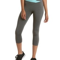 Gray Combo Wrapped Waist Capri Athletic Pants by Charlotte Russe