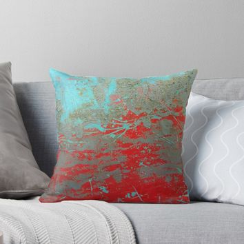 'texture - aqua and red weathered paint' Throw Pillow by vfphoto
