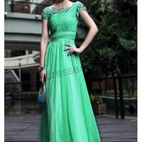 Prom dresses UK - Green Lace Cap-sleeve Chiffon A-line Evening Party Dress S551