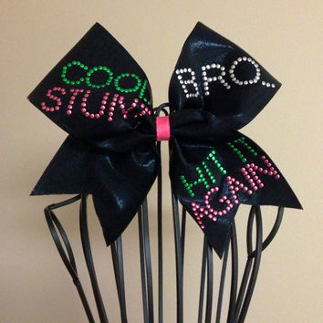 "Black ""Cool Stunt"" Cheer Bow"