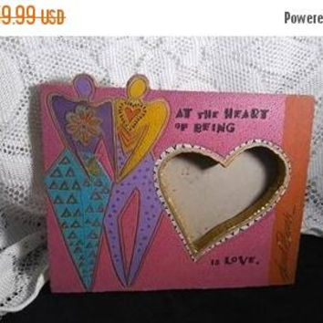 On Sale Laurel Burch Picture Frame, Vintage Heart Love Pink Purple Aqua Designer 1980's Home Decor Collectible, Lovers Heart Frame