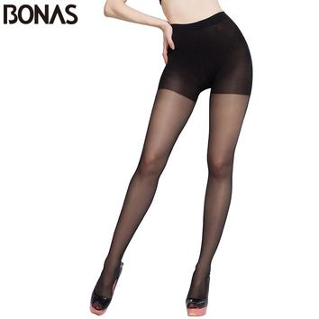 BONAS Plus Size Pantyhose Summer Women Black Sexy Thin Nylon Resistant Tights Fashion Female Hosiery Seamless Designer