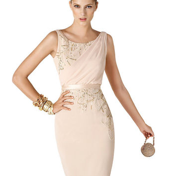 Elegant Short Cocktail Dresses Woman Sequined 2016 Sheath Vestidos De Festa High Neck Chiffon Pearl Pink Party Dresses