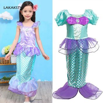 LAKAKSTY Brand Kids Girls Mermaid Fancy Dress Children Summer Clothes Princess Ariel Cosplay Halloween Christmas Baby Costume