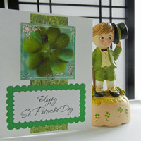 St. Patrick's Day Card Shamrock Design Handmade St. Patty's Day Greeting, Glitter Card, Happy St. Patrick's Day