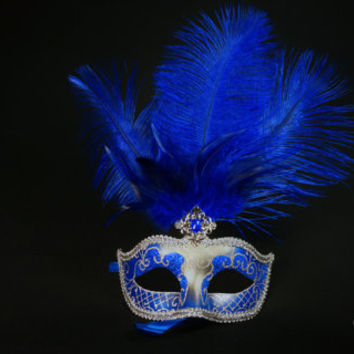 Blue Masquerade Mask, Silver venetian Mask, Masquerade Ball Mask, Mask with Feathers for Masquerade Ball, Weddings, Prom Mardi Gras,Mascaras