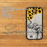 Elephant, sunflower,samsung galaxy note 2 case,note3,s4 active,samsung galaxy S3/ S3 mini/S4 mini case,S4,S5,Google Nexus 4/5,HTC ONE M7
