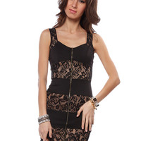 Papaya Clothing Online :: FRONT ZIP UP LACE DETAIL DRESS