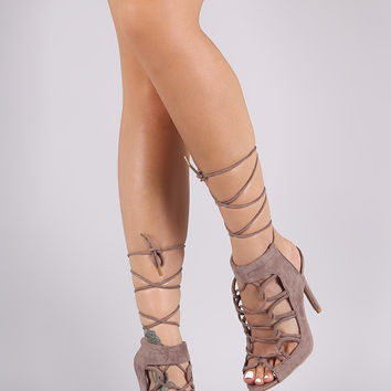 Qupid Suede Strappy Lace-Up Mule Heel