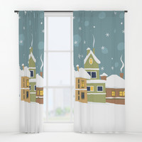 Winter town Window Curtains by katerinakirilova