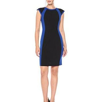 Lark & Ro Women's Short Sleeve Colorblock Sheath Dress