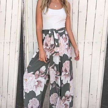 Garden Splendor Wide Leg Floral Pants
