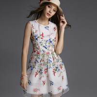 Floral Mesh Casual Skater Dress