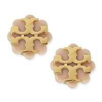 Resin Flower Logo Stud Earrings, Beige/Gold - Tory Burch - Gold
