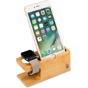 Apple Watch Phone Stand NNEWVANTE Bamboo Wood Charging Stand Bracket Docking Station Holder for iPhone and Apple Watch