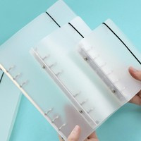 Translucent PP Plastic Notebook Binder Clips A5/ A6/ A7 / B5 a4 Round Ring Binders Strap Style Notebook with Binder, 1-inch Ca