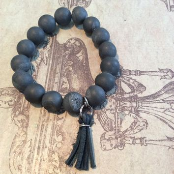 Southern Stone Co. Leather Tassel Stone Bracelet