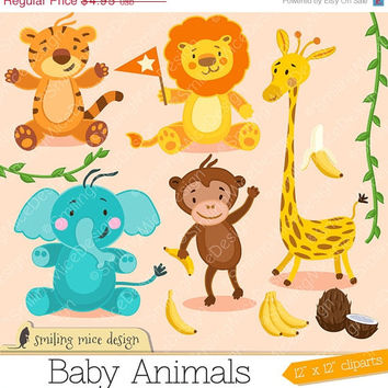 80% OFF SALE Baby Animals cliparts, little animals clip art pack with tiger, lion, elephant, ape and giraffe cliparts