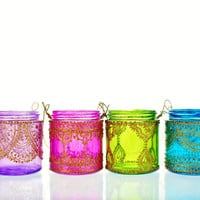 Set of Four Moroccan Lantern Votive Holders In Fuschia by LITdecor