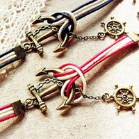 Navy anchor color leather bracelet retro alloy wild from Topboutique