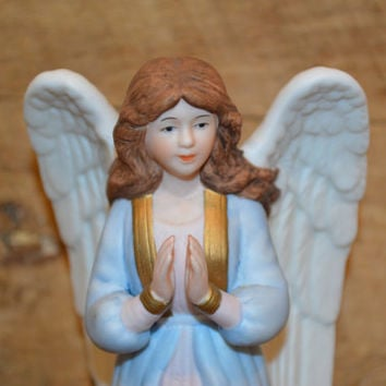 HOMCO Glorious Angel, 5809-97, Ceramic Angel, Blue Angel, Home Interior Angel, Angel Figurine, Angel Decor, Praying Angel, Religious Gift