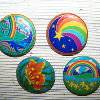Vintage Round Colorful Pinbacks...Pin Backs...Hippie Throwback...Mod...Boho Chic..Butterfly...Rainbows..Whale..Flowers...Instant Collection