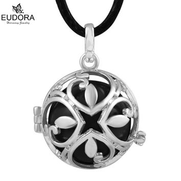 Eudora Harmony Ball Silver Round Locket Mexican Bola Pendant with Chime Ball 30'' Wax leather Necklace USPS Free Shipping
