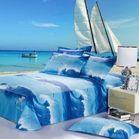 Duvet Cover Set - Dolce Mela Bedding with Ocean 4pc Cotton Bedding Set - Queen Duvet Cover with sheet and 2pc pillow covers