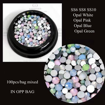 100pcs Cute Crystal Opal Mix-Color Mix-Size Flatback Crystal Nail Rhinestone Different Sizes SS6-SS10
