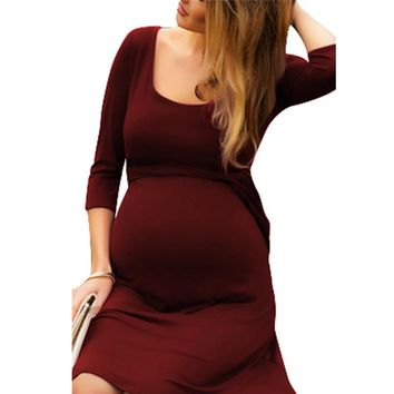 New Hot Sale Pregnant Women Long Dress Breastfeeding Evening Dress Tracksuit Robe Maternity Dresses Size S-2XL nursing dresses