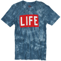 LIFE Logo on Tie Dye T-Shirt Magazine Logo on Cloud Wash Style Tee (S,M & XL Only)