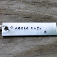 Accio Keys Keychain - Harry Potter - Books - Key Ring - Silver - Aluminum - For Him - For Her - Hand Stamped