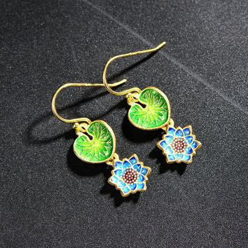 Cloisonne jewelry 925 Sukhothai silver plated earrings Chinese filigree enamel lotus wind