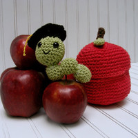 Crochet Graduation Worm And Apple - Teacher Back to School Gift