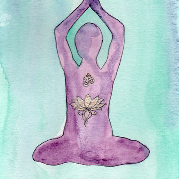 Yoga Meditation Watercolor Painting with Lotus and Om, Buddhist Art, Yoga Art