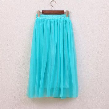 LMFET7 2017 Spring and summer new faldas big swing maxi skirts womens autumn winter high waist tutu long tulle skirt Color Pink Blue