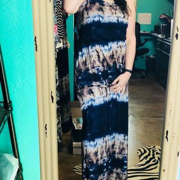 Psychedelic Tye Dye Maxi Dress in Navy