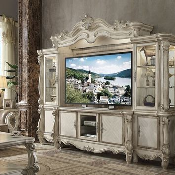 4 pc Versailles collection bone white finish wood entertainment center wall unit