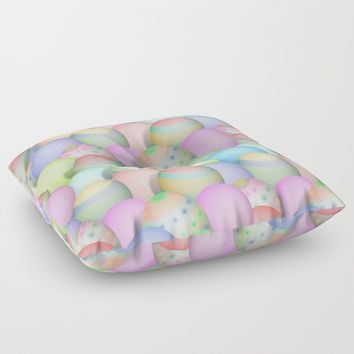 Pastel Colored Easter Eggs Floor Pillow by Gravityx9