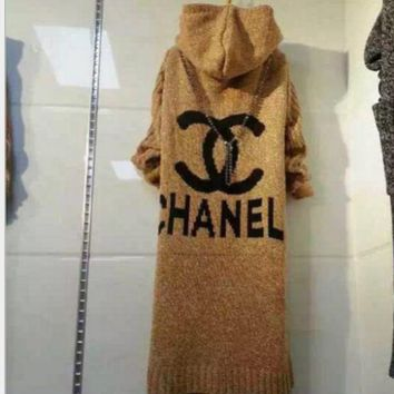 Gotopfashion Chanel Hooded sweater knit grey cardigan""