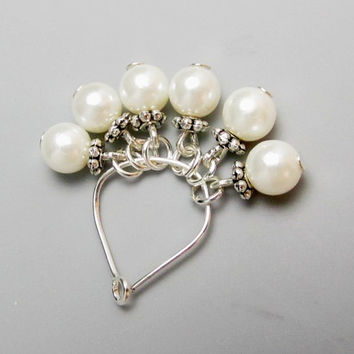ADD PEARL Charm, June Birthstone, Add on Charm Necklace, White Pearls, Bridal Pearls, Weddings pearls, Add On Pearls, Round Pearls, Silver