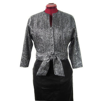 1960s Silver Lurex Button Down Cocktail Jacket with Dolman Sleeves & Knotted Bow Closure - Vegan - Medium Large