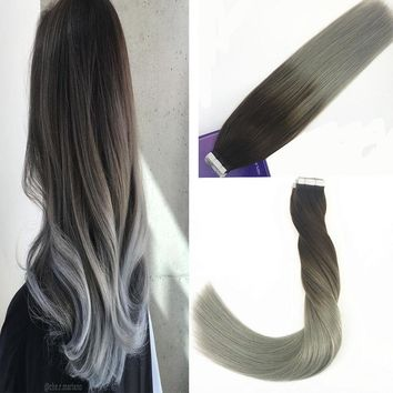 50g Adhesive Tape in Human Hair Extensions Balayage Ombre Black to Silver 20PCS