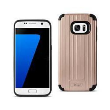REIKO SAMSUNG GALAXY S7 RUGGED METAL TEXTURE HYBRID CASE WITH RIDGED BACK IN BLACK ROSE GOLD